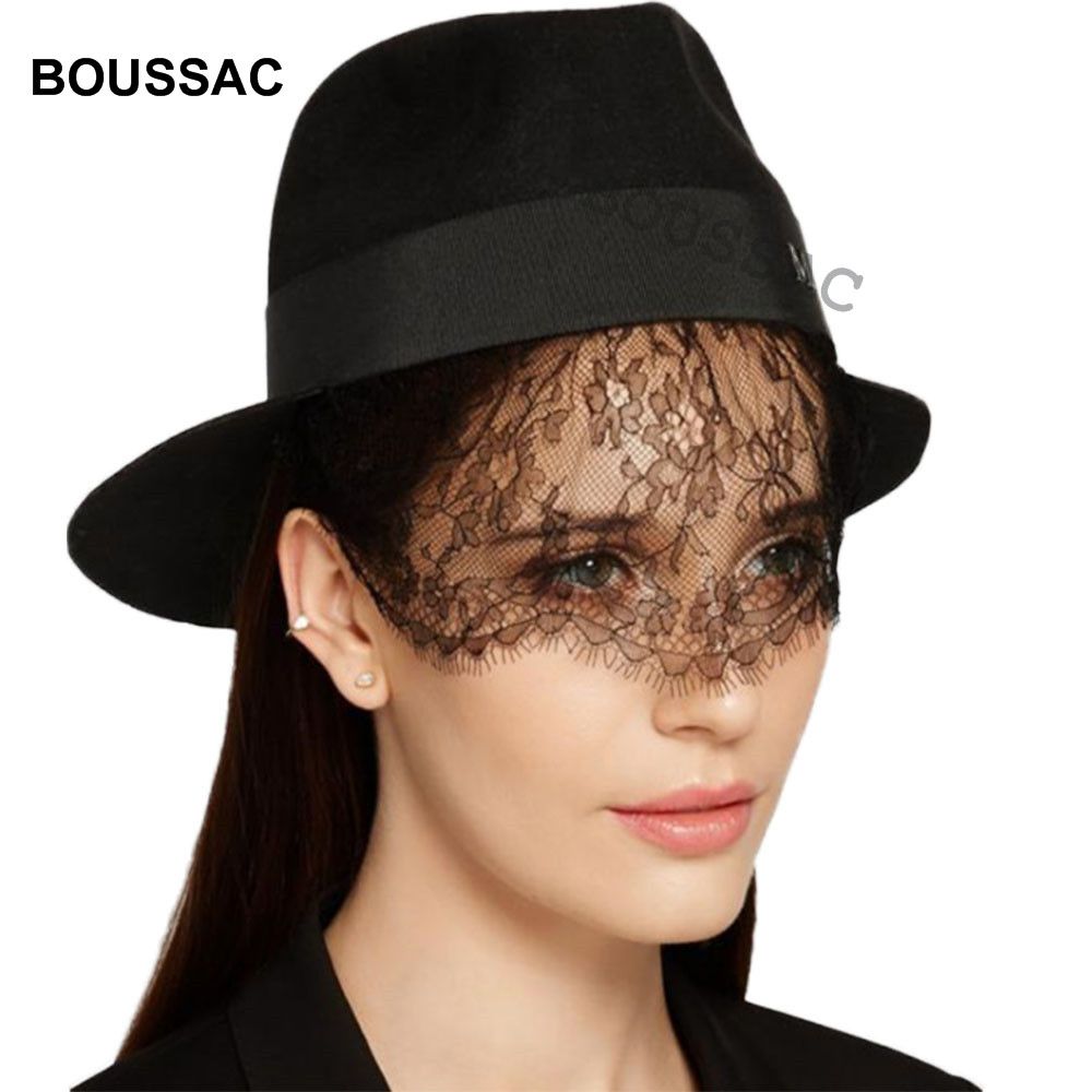 Elegant Women 100% Wool Brim Floppy Felt Trilby Mesh Fedora Hat For Ladies  Winter Autumn 46ce0f1fead2