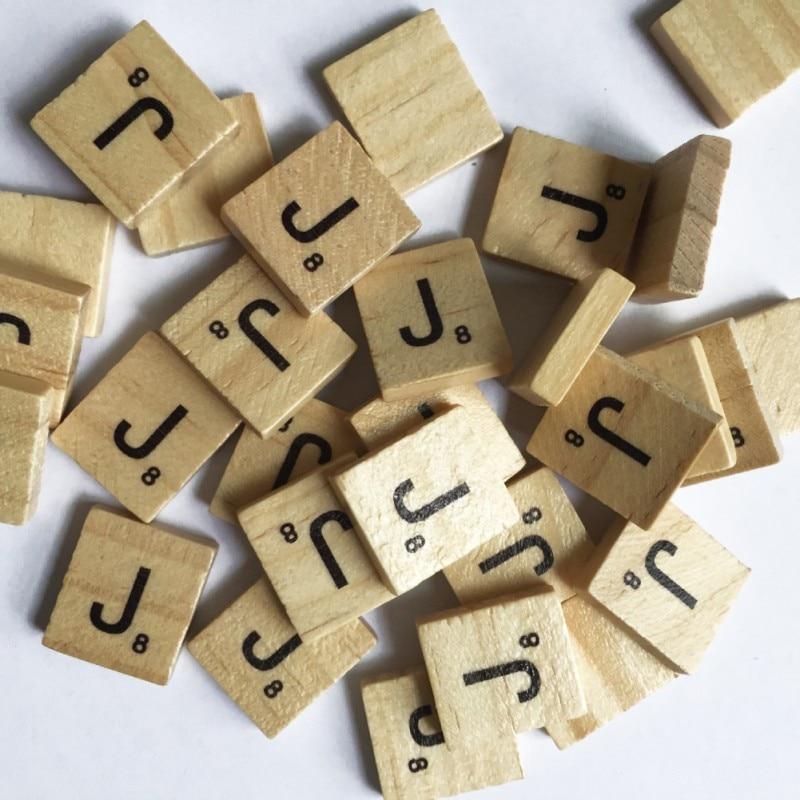 100 pcs Scrabble Letters Wooden Alphabet Scrabble Tiles Black Letters Numbers Crafts Figurines 2018