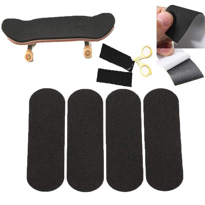 12 Pcs Wooden Fingerboard Deck Cut Handle Tape Sticker For Mini Stickers Skateboard Skateboard Accessories Black 110x 35mm