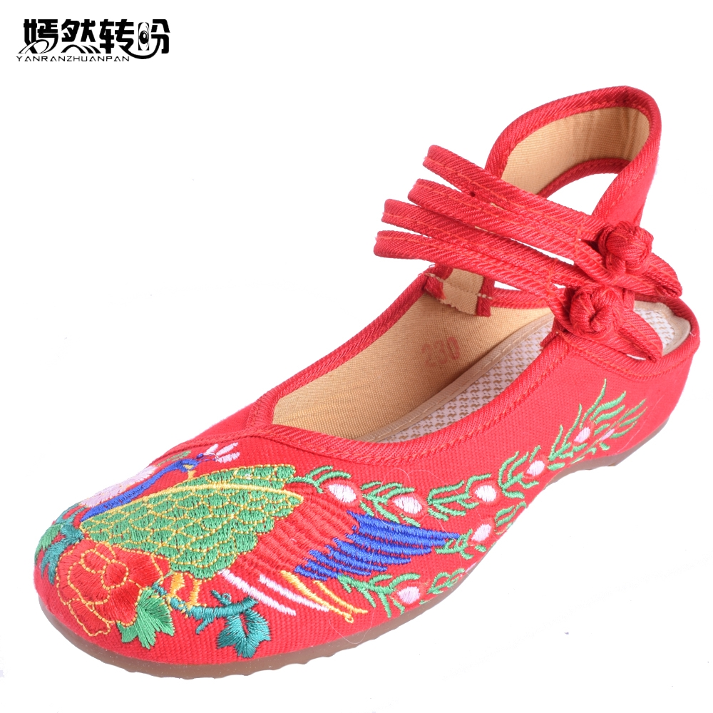 Summer New Old BeiJing Women Peacock Flat Shoes Canvas National Embroidered Dance Performances Single Shoes Sandals women flats summer new old beijing embroidery shoes chinese national embroidered canvas soft women s singles dance ballet shoes