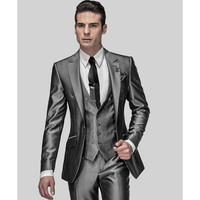 Wedding Suit Grooms Tuxedos Wear Mandarin Collar Suit Wedding Party Dresses Men Custom Suit White (Jacket+Pants+Vest)