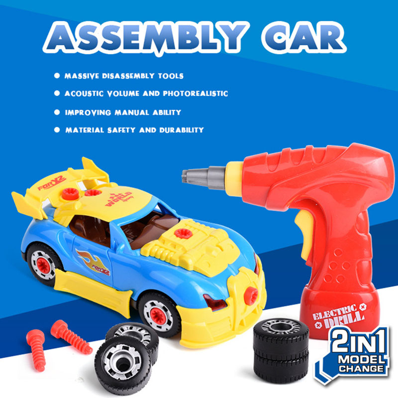30pcs Childrens Diy Racing Toy Electric Drill Disassembly Toy Car Assembly Disassembly Toy Childrens Hands-on Screw Car Puzz Toys & Hobbies