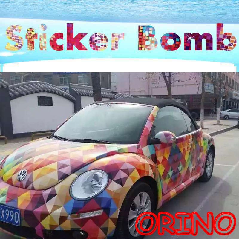 Hot Euro Style Colorful Sparkle Rainbow StickerBomb Vinyl Wrap With Air Bubble Free For Car Wrapping Decals Sticker Bomb Film