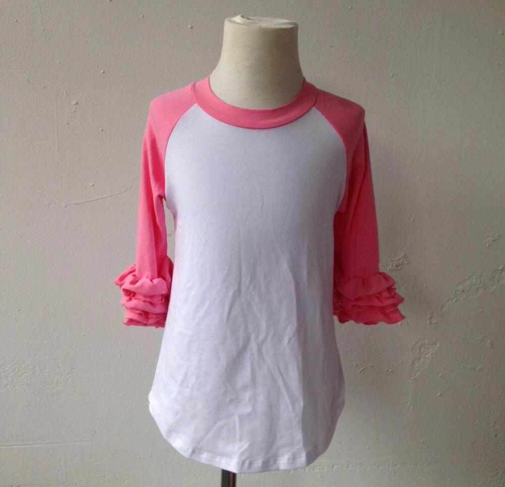 Shirt design for baby girl - Top Fashion Girl T Shirt Wholesale Blank Cotton Ruffle Pant Icing Raglan Frock Design For Baby