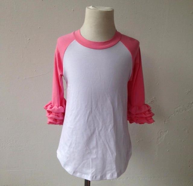 d330babf4f0 top fashion girl t shirt wholesale blank cotton Ruffle Pant icing raglan  frock design for baby girl long sleeve shirts