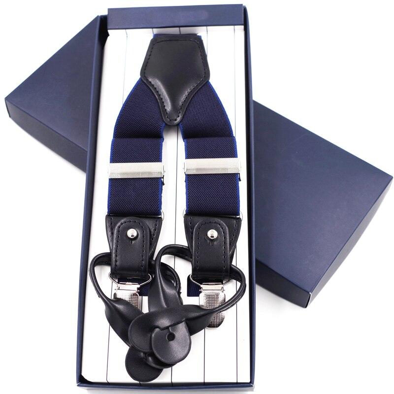 Dual Buttons Suspenders Fashion Man's Braces 3 Clips Braces Casual Suspensorios  Adjustable Belt Strap Ligas Tirantes3.5*120cm