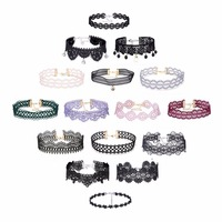 16Pcs Sets Sexy Black Gothic Punk Velvet Chokers Lace Choker Necklace Pendant Jewelry Women Lady Collar