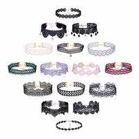 16Pcs Sets Sexy Black Gothic Punk Velvet Chokers Lace Choker Necklace Pendant Jewelry Women Lady Collar
