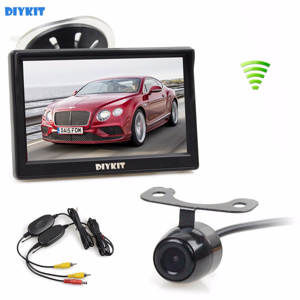 DIYKIT Wireless 5 inch TFT LCD Car Monitor Suction Cup and Bracket Rear View font b