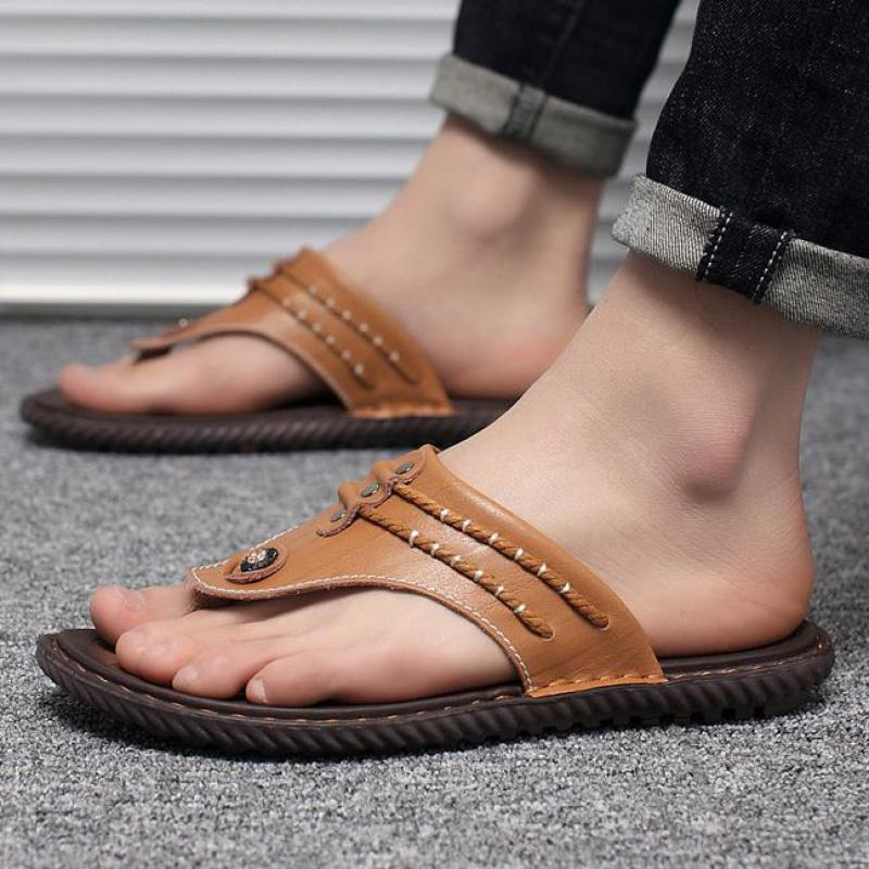 0a824741da32 Genuine Leather Slippers Beach Shoes Men Designer Flip Flops Luxury Man  Shoe Black Blue Brown Mens Sandal Brands Fashion Slides