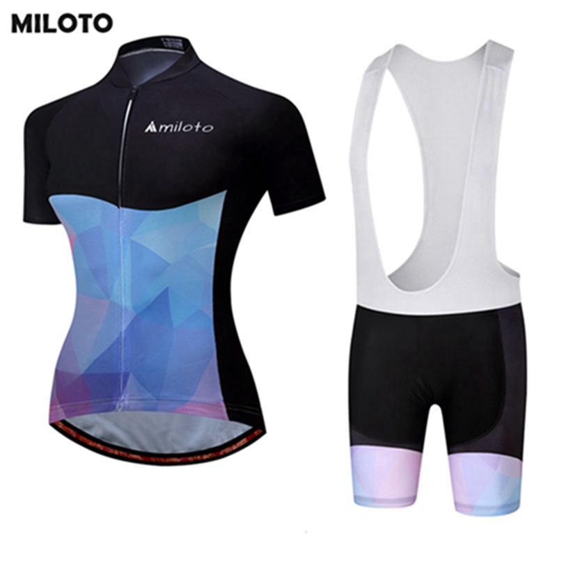 MILOTO Cycling Jersey PRO Bike Women Bicycle Ropa Ciclismo Sports Wear Shirt Short Sleeves Tops Biking Bib Shorts Sets S-4XL