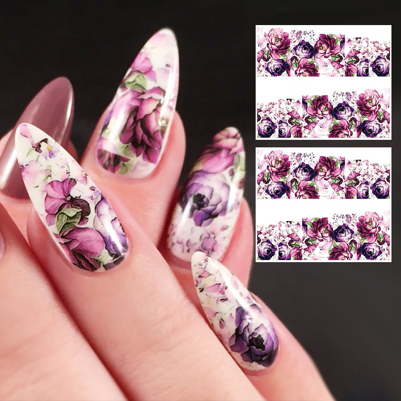 2 Sheets Gorgeous Flower Water Decal Colorful Floral Nail Art ...