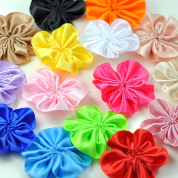 10PCS 2 16colors DIY Satin Ribbon Petal Flower For Hair Accessories Artificial Ruffled Fabric Flowers For Kids Headbands