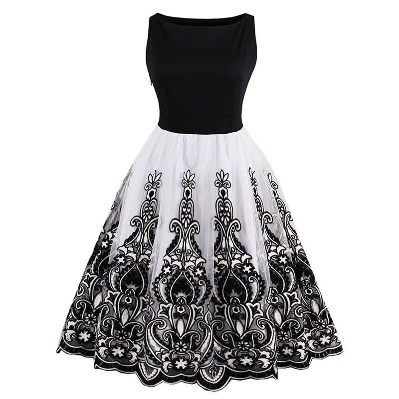 Fashion Women Vintage 1950s Style Dresses Floral Print Party Dress Black Elegant Female Retro Flocking Tank Sleeveless Dresses