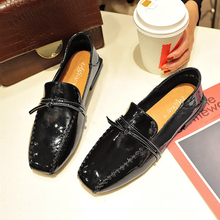 Trendy Oxford Flats Women Shoes 2019 Autumn Concise Square Toe Sewing Lace-up Solid Soft Ladies Dress Slip On Boat B