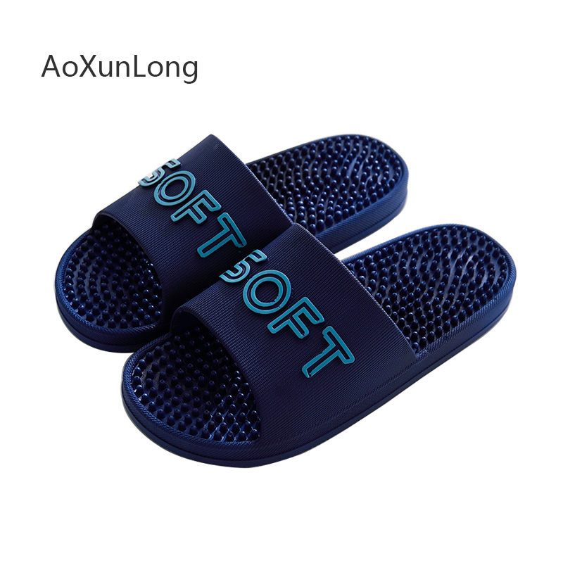 New Men Slippers Summer Home Massage Slippers Indoor Thick Soles Non-slip Light-weight Bathroom Slides Flat Men's Beach Sandals