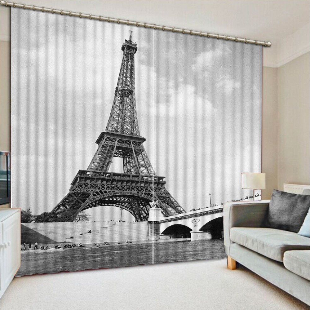3D Printing Curtains Black And White Tower Curtains
