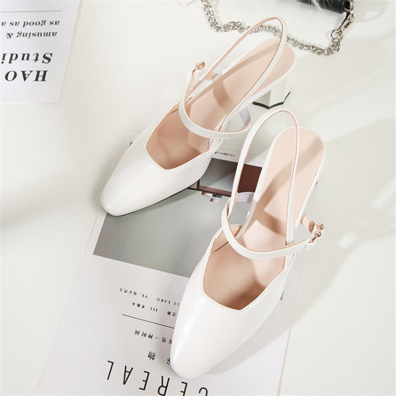 MSSTOR PU High Heels Shoes Women Metal Decoration Pointed Toe Concise White Casual Summer Sandals Slip-On Women Sandals 2019
