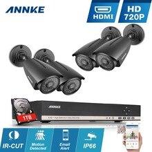 2016 Nueva ANNKE HD 1080N 8CH DVR AHD 1.3MP 720 P impermeable de La Visión Nocturna Sistema de Seguridad Inicio de Vigilancia Kits Con 4 cámaras