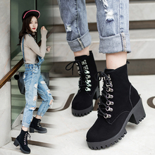 2019 Popular Working Women Boots Luxury British Style Classic Working Boots for Ladies Punk Bandage Autumn Waterproof Shoe Women