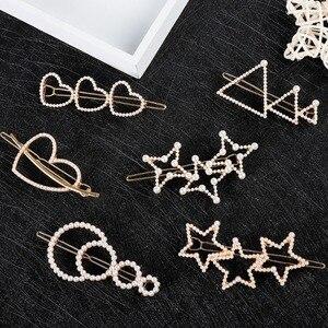 Heart Star Hollow Small Pearl Hair Clips Barrettes Headwear Hairpins Hairgrips For Female Women Girls Bridal Hair Accessories