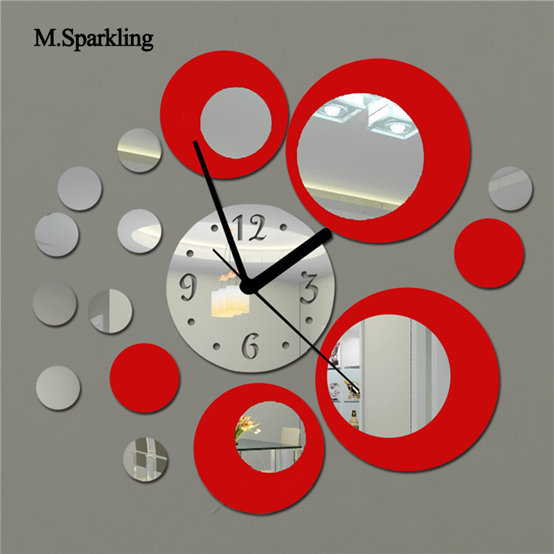 M.Sparkling circle 3D wall clock modern brief design mirrior sticker DIY home decoration self adhesive quartz wall clock