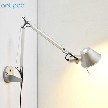 цена на Artpad Modern Minimalist Flexible LED Arm Wall Lights AC90-260V Silver/Black Eye Protection Bedroom Bedside Wall Lamp Fixture