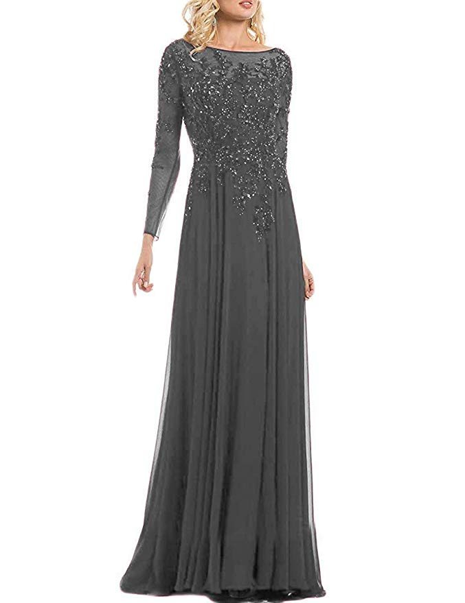 Chiffon Evening Dress Mother of The Bride Dresses Beaded Long Sleeve Wedding Party Gowns Vestidos Madre Novia
