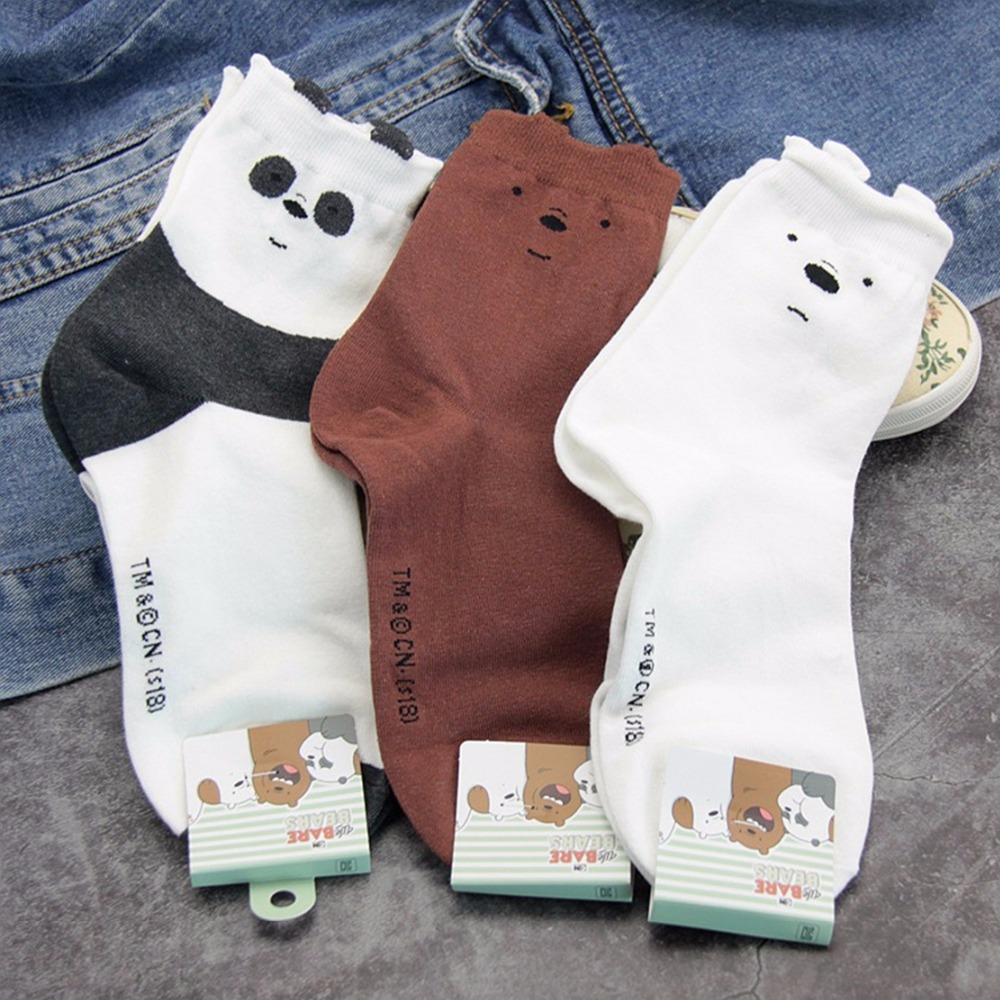 Cartoon bear panda animal print   socks   cute funny personalized women   sock   autumn winter comfortable sweat absorbent cotton   socks
