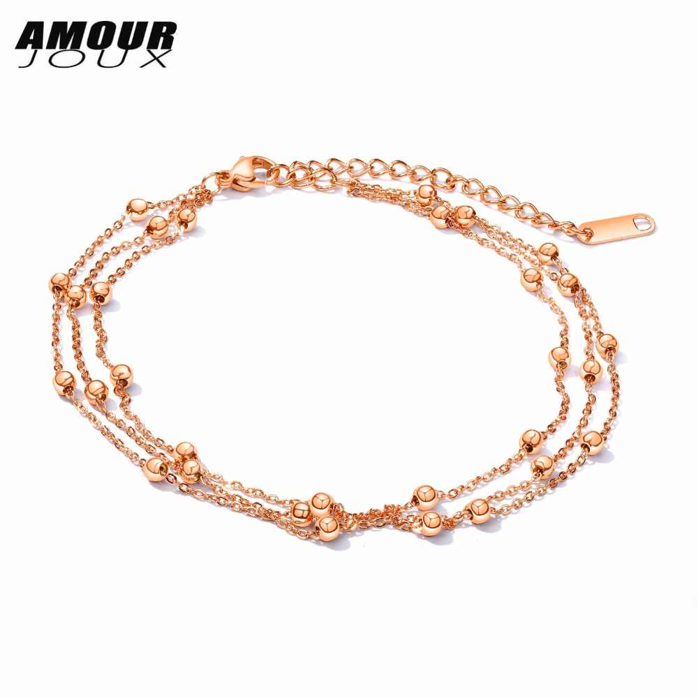Gold Color 3 Layers Beads Chain 316L Stainless Steel Charm Leg Anklet For Women Ankle Bracelets Foot Summer Jewelry