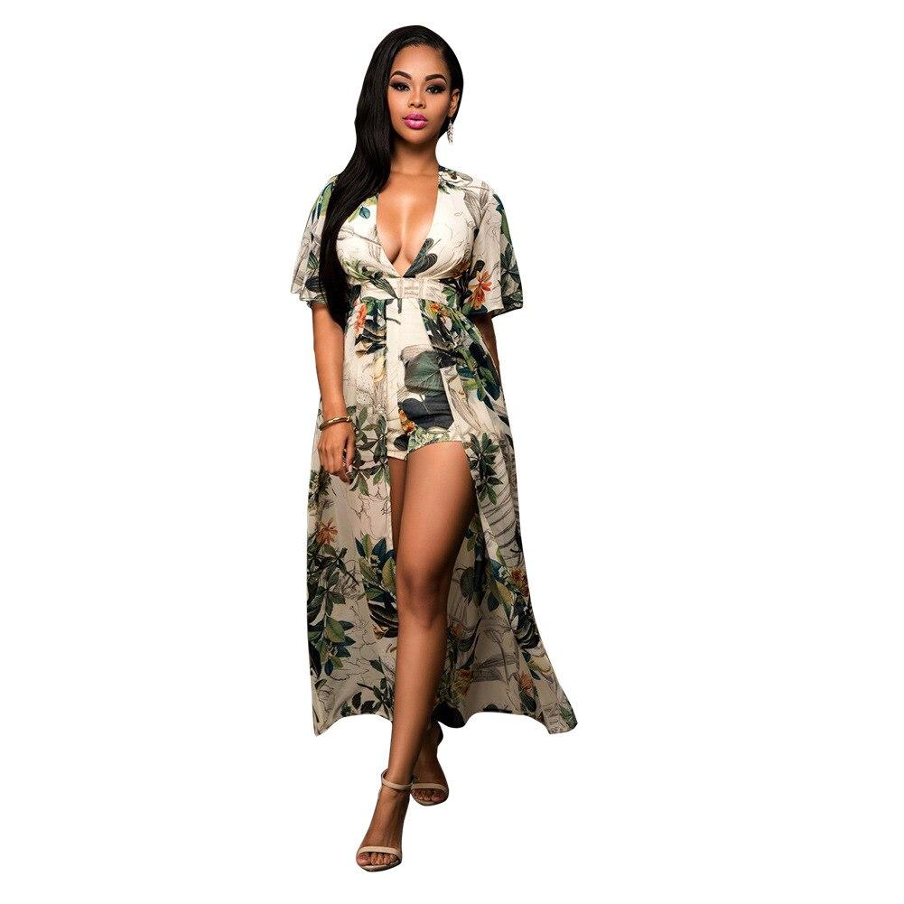 Beach Long Jumpsuit Plus Size Chiffon Summer Women Jumpsuit printing Sexy  Casual Vintage Irregular Maxi jumpsuit S-3XL 5