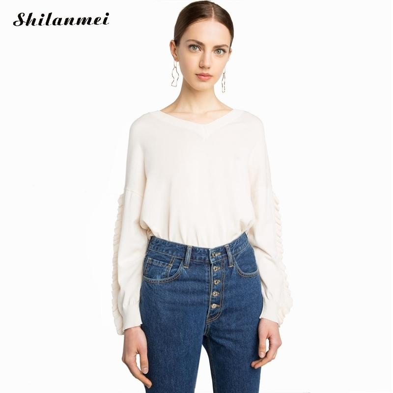 2017 Autumn design women ruffles women knitted jumpers tops woman soft ruffles sweaters tops good quality woman clothing
