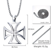 Unsex Personalized Hand Stamped Trend Of Men Jewelry Men Necklace Silver Necklace Hollow Titanium Personality Cross