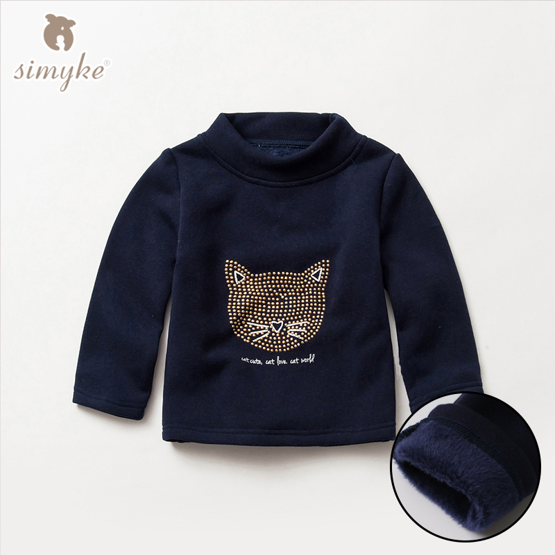 Simyke Girls Warm T shirt With Long Sleeve 2017 Winter Children s Casual Turleneck Tee Shirts