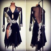latin dance dress women Long sleeved side fork V-neck Transparent back for Cha Rumba Tango dancing
