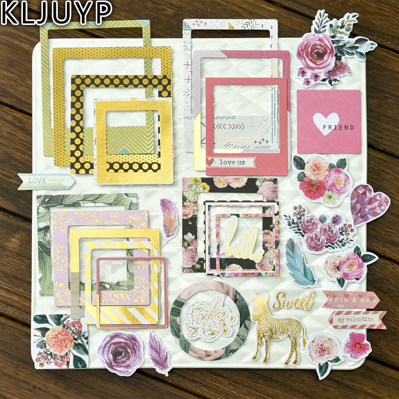 KLJUYP 32pcs Sweet Photo Love Flowers Frames Cardstock Die Cut For DIY Scrapbooking/photo Album Decoration Crafts