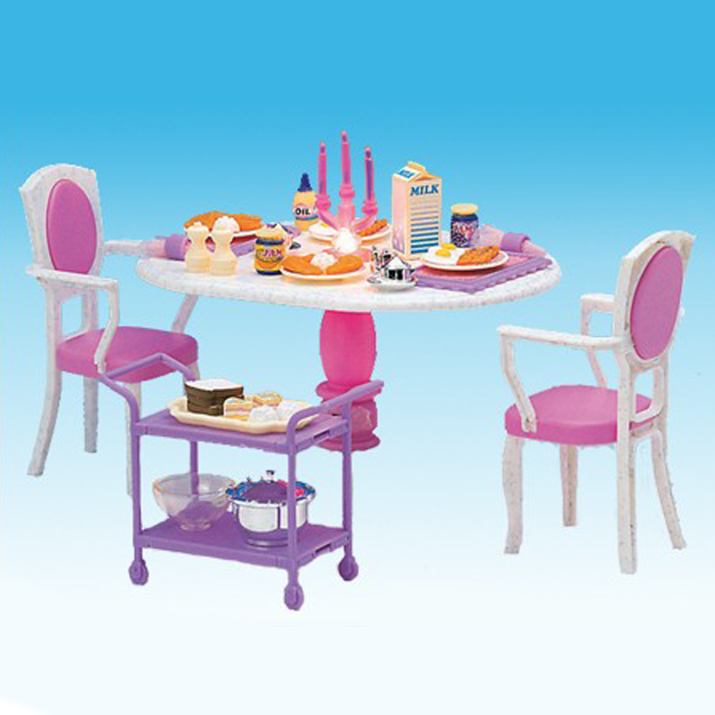 1/6 Dining Table Chair Foods For Barbie Dollhouse Dining