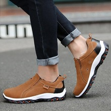 2019 Fashion Men Suede Leather Hiking Shoes Outdoor Moutain Climbing Sneakers Anti-slip Jogging Sports Shoes Plus Size men stylish outdoor anti slip leather sports casual shoes
