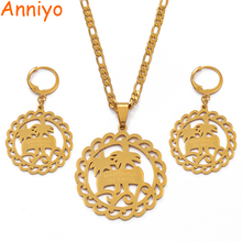 Anniyo Marshall Necklaces Earrings Jewelry set Fashion Gold Color Jewellery Island Style Coconut Tree #037021