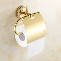 Europe Antique Gold Polished Toilet Paper Holders Brass Toilet Tissue Holders Solid Copper Wall Mounted Bathroom Accessories