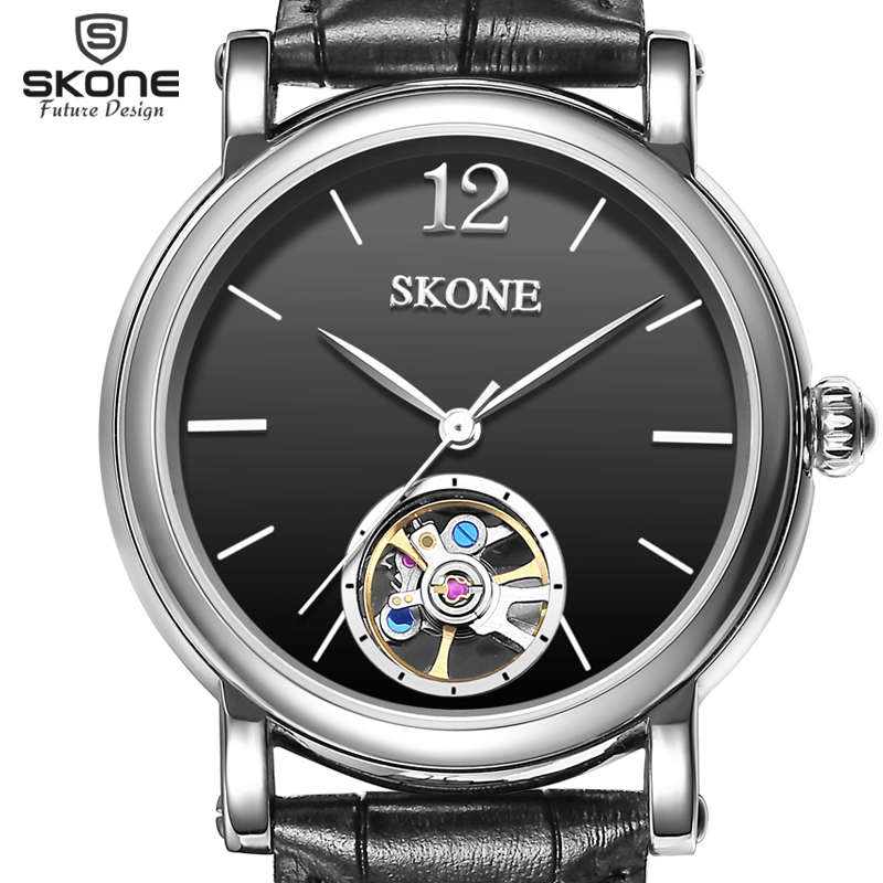 SKONE Genuine Leather Strap Automatic Mechanical Watches Men Luxury Brand Wrist Watch SelfWind Watch relogio masculino 2017 New skone relogio 9385