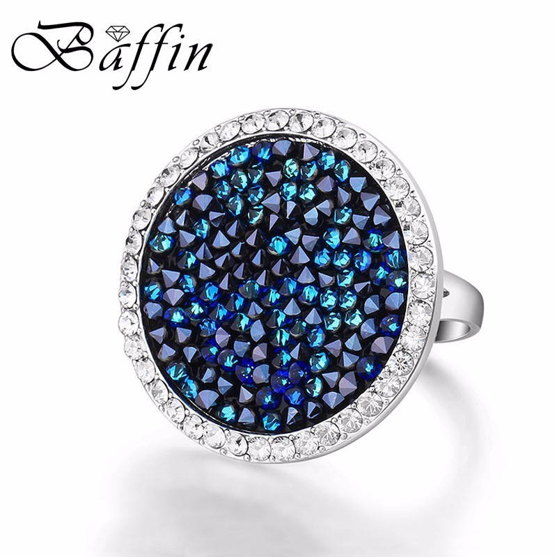 Baffin Women Party Jewelry Crystals From Swarovski Pave Maxi Round Ring Luxury Romantic Anniversary Joyas For Women Best Gift baffin crystals pave jewelry sets round pendant necklace maxi rings luxury accessories for women made with swarovski elements