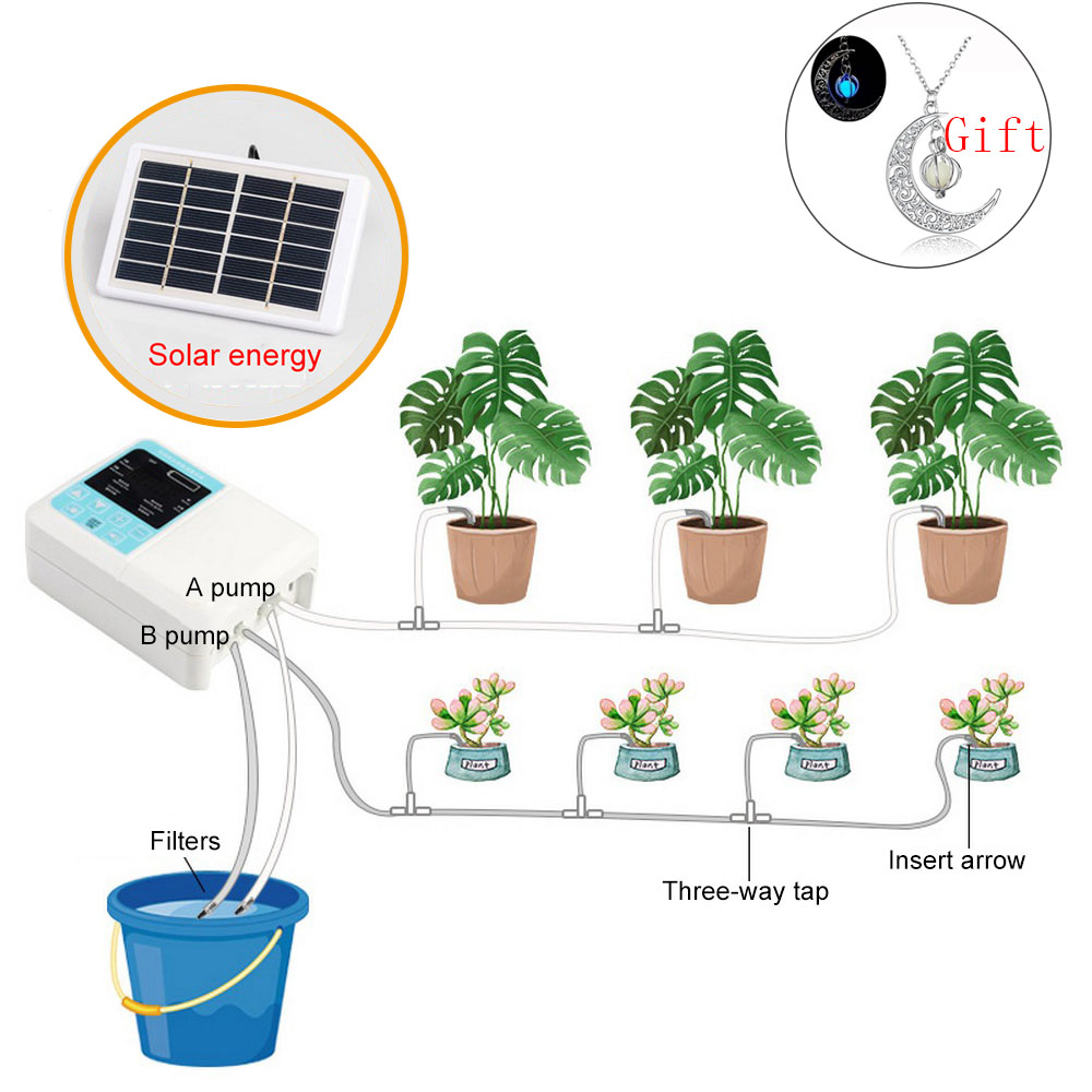 Newest Intelligent Garden Automatic Watering Device Solar Energy Charging Water Pump Timer System Potted Plant Drip Irrigation|Watering Kits| |  - title=
