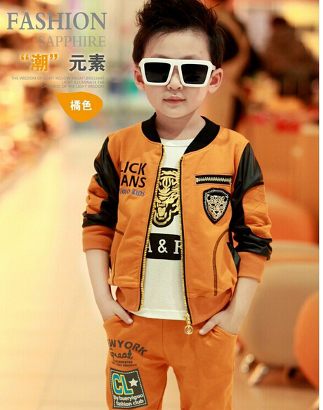 Autumn winter Retail Children s clothes Sell like hot cakes new boy sports three piece Coat