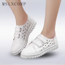 Plus Size 34-43 Fashion New Cut Outs Women Shoes with Hole Breathable Hook Loop Flats Casual Shoes Summer footwear Zapatos Mujer цены онлайн