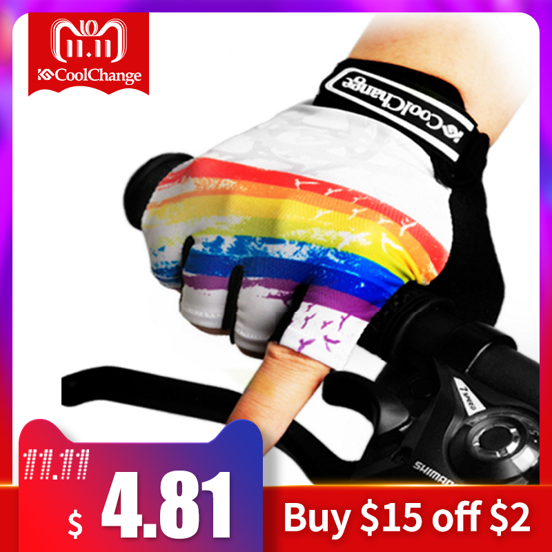 CoolChange Cycling Gloves Half Finger Mens Women's Summer Bicycle Sport Gloves Breathable Nylon MTB Bike Gloves Guantes Ciclismo body building sports cyling half finger gloves for women black red