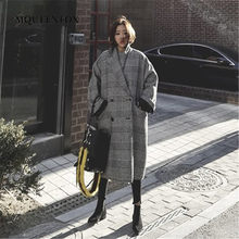 New Plaid Woolen Coat 2019 New Winter Women Double Breasted Long Wool Coat Female Loose Woolen Overcoat Outwear(China)