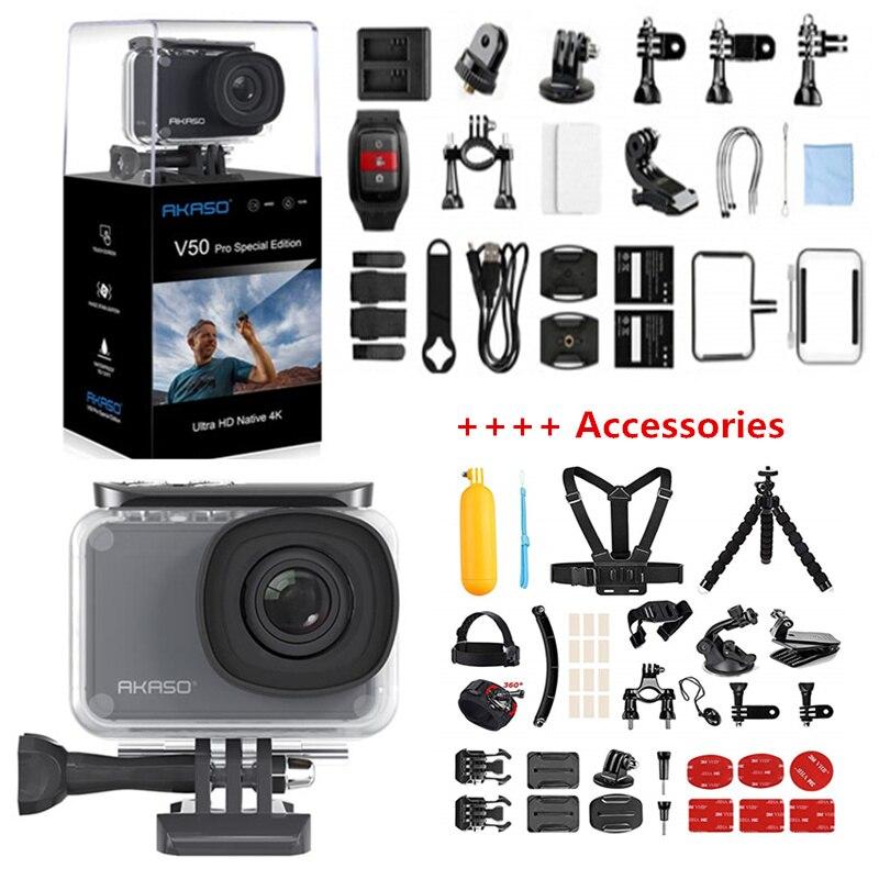AKASO V50 SE Pro Action Camera Touch Screen Câmera de Esportes Fundo de Acesso Especial Edição 4K À Prova D' Água Câmera Wi-fi Remoto controle