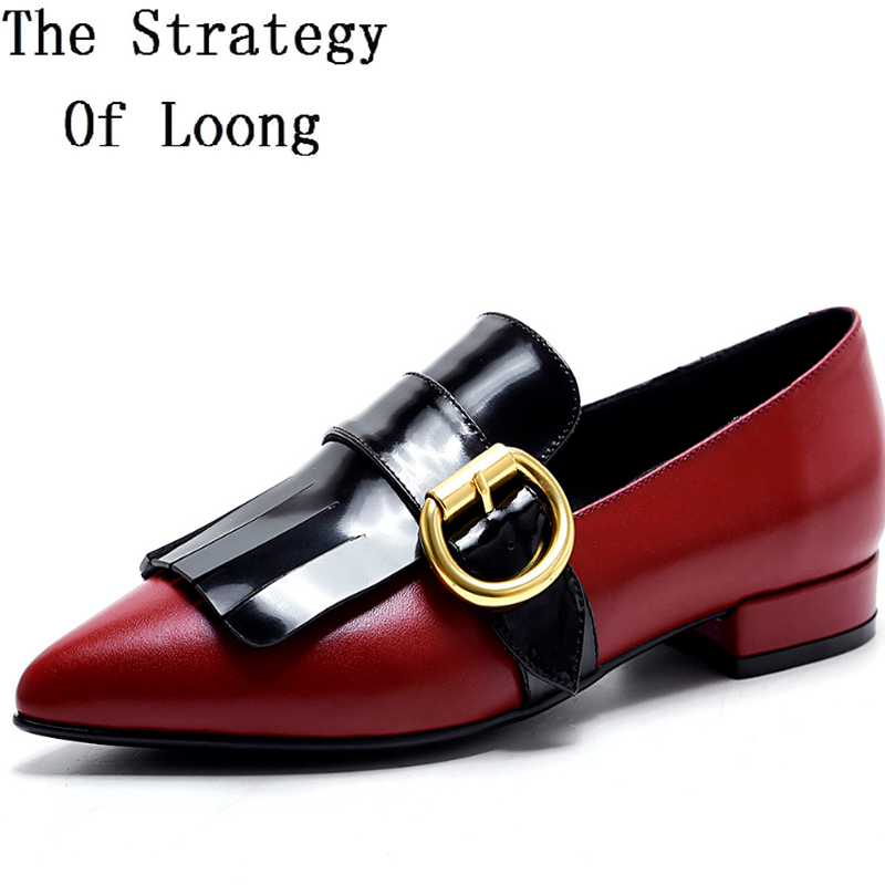 Women Genuine Leather Buckle Fringe Spring Autumn Fashion Shoes Pointed Toe Flat Full Grain Leather Lady Shoes 20170207 2015 new spring and autumn full for grain soft genuine leather men s british business dress pointed toe solid buckle strap shoes