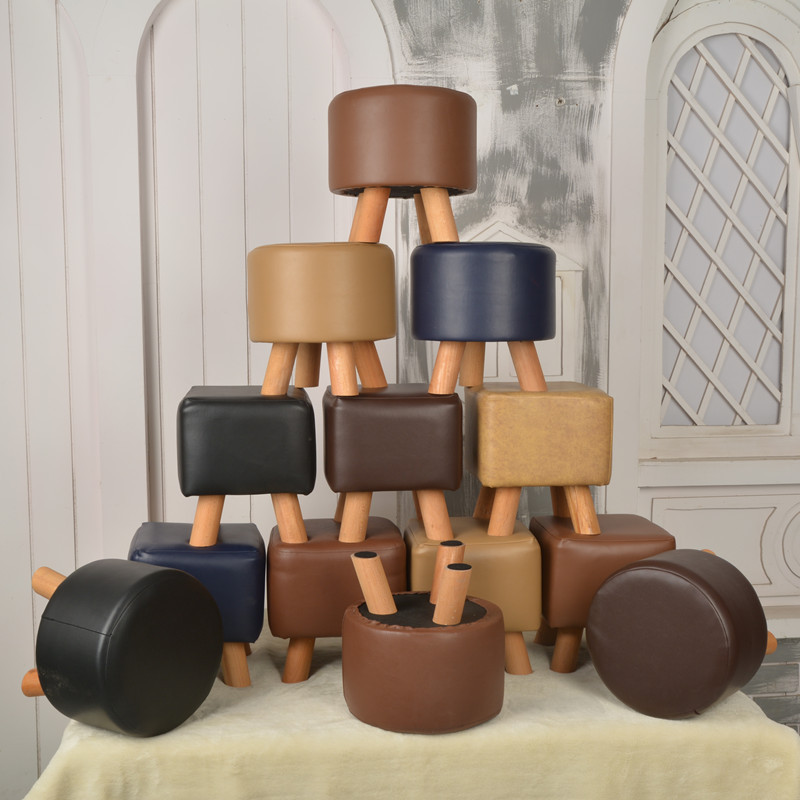 Shoe Stool Leather Fashionable Children's Stool Sofa Stool Waterproof  Round Children Furniture Cute Solid Wood